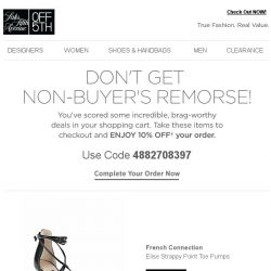 [Saks OFF 5th] Still thinking about that French Connection item? Get 10% OFF!