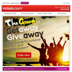 [Hotels.com] Grab a chance to win a $1000 coupon! Just refer your friends