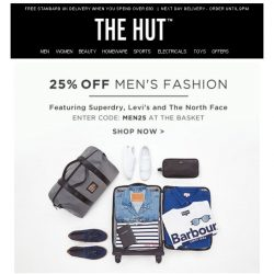[The Hut] 25% off Men's Fashion   Last Chance Le Creuset Offers   Swimwear Edit and more...
