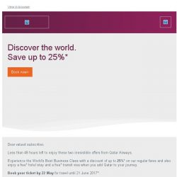 [Qatar] Less than 48 hours left to save up to 25% off* Business Class fares
