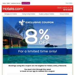 [Hotels.com] [STARTS TODAY] Get an extra 8% off