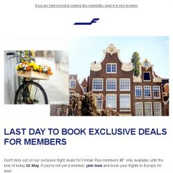 [Finnair] Last call for exclusive member offers – only today!