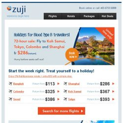 [Zuji] Tokyo and more fr $286 (return). For 72 hours only!