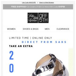 [Saks OFF 5th] EXTRA 20% OFF Alexandre Birman, Giuseppe Zanotti & More