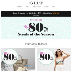 [Gilt] Exceptional steals at up to 80% off: Designer Accessories, Summer Staples, Handbags & more
