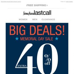 [Last Call] Don't miss out on HUGE DEALS: extra 40%–60% off everything