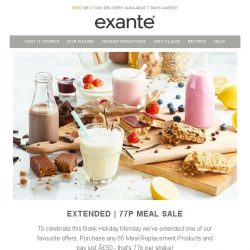[Exante Diet] Extended! 77p Meal Sale - Don't Miss Out!