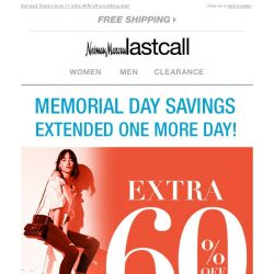 [Last Call] So good we extended it >> extra 60% off clearance