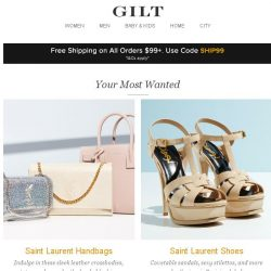 [Gilt] Saint Laurent Handbags, Saint Laurent Shoes, X by Gottex and More Start Today at Noon ET