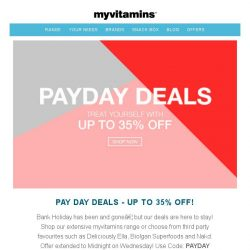 [MyVitamins] Save 35% | Extended Pay Day Deals