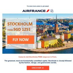 [AIRFRANCE] Let's go to Stockholm from SGD 1251