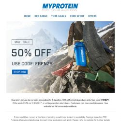 [MyProtein] Midweek Mayhem! 50% off today only!