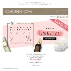[COSME-DE.com] COSME-DE Members Exclusive! Save 21% on your order! Limited Time Offer!