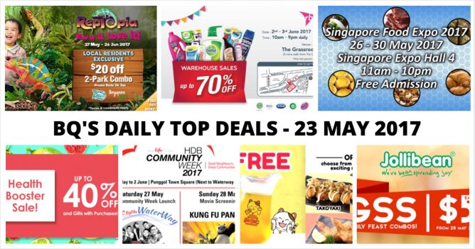 BQ's Daily Top Deals: $20 OFF Entry to Singapore Zoo & River Safari, RB Warehouse Sale, Singapore Food Expo 2017, HDB Community Week 2017 & More! big savings