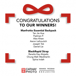 [Cathay Photo] Congratulations to the following members for winning either a Manfrotto Essential Backpack or a limited edition BlackRapid Strap!
