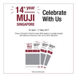[MUJI Singapore] 1 LAST DAY to the end of our 14th Anniversary Promotions, and Scratch Cards redemption for every $40 spent!