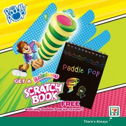 [7-Eleven Singapore] Try the new Paddle Pop Twister Fruity with a yummy strawberry core wrapped in lemon and mango swirls!