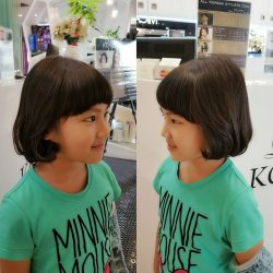 "[Lacoco Hair Salon] Adorable girl's bob style It can be achieved by ""Wellbeing perm"" for Kid chemical free permDone by our"