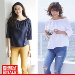 [Uniqlo Singapore] The Women's Extra Fine Cotton 3/4 Sleeve Off Shoulder Blouse is an  elegant option that feels good and