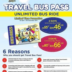 [CAUSEWAY LINK BY HANDAL INDAH] Grab our latest promotion for Travel Bus Pass!