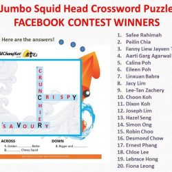 [Old Chang Kee Singapore] Congratulations to all the Jumbo Squid Head Crossword Puzzle Facebook Contest Winners!