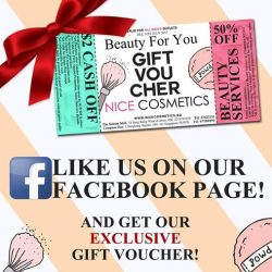 [NICE Cosmetics] LIKE our Facebook and receive our beauty gift voucher today!