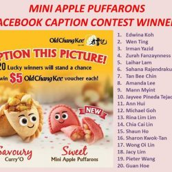 [Curry Times & Old Chang Kee] Congratulations to all the Mini Apple Puffarons Facebook Contest Winners!