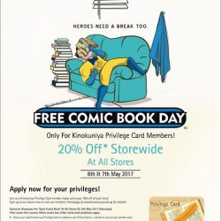 [Books Kinokuniya] FCBD In celebration of Free Comic Book Day, Kinokuniya Privilege Card members stand to enjoy 20% off storewide at all