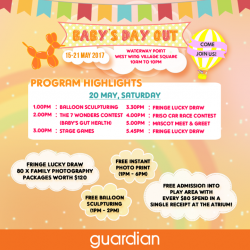 [Guardian] Come join us at Guardian Baby's Day Out happening at Waterway Point, West Wing Village Square from 10AM – 10PM