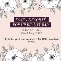 [Isetan] Come by the @kosesg x @cosmedecortesg pop up beauty bar at Isetan Katong from 15-21 May 2017 and receive