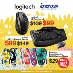 [Newstead Technologies] Selected Logitech mouses and keyboards are having special deals at Newstead & Digital Style stores!