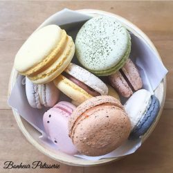 [Bonheur Patisserie] Box of 10 regular macarons for $25 and box of 20 for $40.
