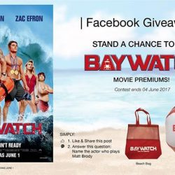 [Filmgarde Cineplex] Stand a chance to win BAYWATCH movie premiums!