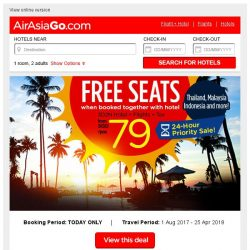 [AirAsiaGo] 🎉 FREE SEATS when booked together with hotel | Book Now! 🎉