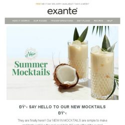 [Exante Diet] Say hello to our new MOCKTAILS!
