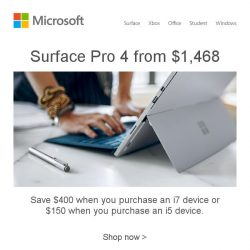 [Microsoft Store] Get Surface Pro 4 today and save up to $400 off. Buy now >
