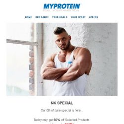 [MyProtein] The 6/6 Special... 60% off selected products!