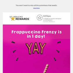 [Starbucks] Behold, Frappuccino Frenzy is near. ⏰