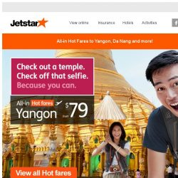[Jetstar] ✈ Hot fares of the week | Flight deals to Yangon, Da Nang and more!