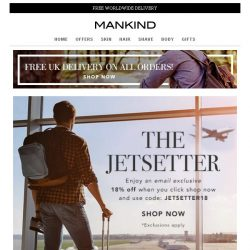 [Mankind] 18% off – Be a Jetsetter
