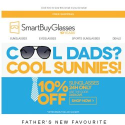 [SmartBuyGlasses] 10% Off Sunglasses| Make your dad cooler this Fathers Day! 😎