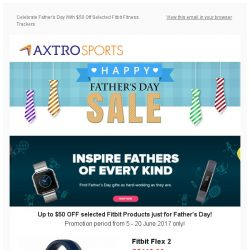 [AXTRO Sports] Celebrate Father's Day With $50 Off Selected Fitbit Fitness Trackers