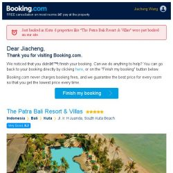 [Booking.com] You're so close! Don't lose your stay at The Patra Bali Resort & Villas