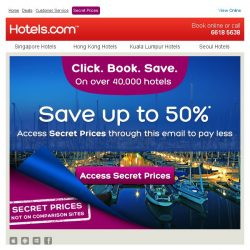 [Hotels.com] Access Secret Prices through this email and pay up to 50% less