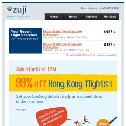 [Zuji] The great Hong Kong sale: Flights at 99% off!