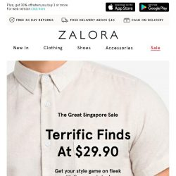 [Zalora] Fantastic Finds At Prices You'll Dig: Everything at $29.90