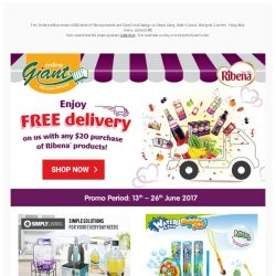 [Giant] 😍OMG! FREE 🚚 Delivery on Ribena, FREE ❄ Marigold Cooler Bag… And FREE 👝 Carefree Pouch!