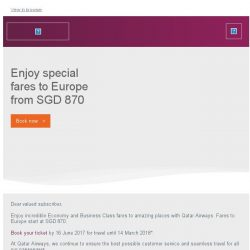 [Qatar] Enjoy special fares to Europe from Singapore at SGD 870