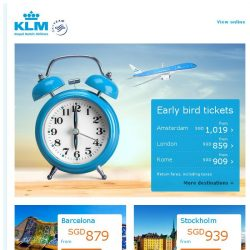[KLM] ✈ Hurry, book your early bird tickets before they fly away!