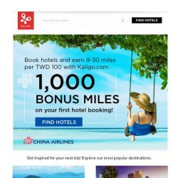 [Kaligo] Enjoy 1,000 Bonus China Airlines Miles on Your First Hotel Booking